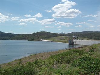 Wyaralong Dam - The dam wall, from the viewing platform.