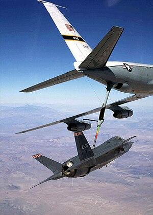 Lockheed Martin X-35 - X-35A being refuelled in-flight by a KC-135 Stratotanker