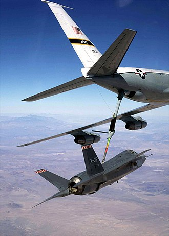 Lockheed Martin X-35 - X-35A being refuelled in-flight by a KC-135 Stratotanker