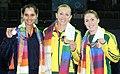 XIX Commonwealth Games-2010 Delhi Tennis (Women's Singles) Anastasia Rodionova of Australia (Gold), Sania Mirza of India (Silver) and Sally Peers of Australia (Bronze) during the medal presentation ceremony.jpg