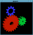 Three gears: red, blue and green