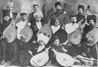 Ukrainians in Kuban - The first bandura school in 1913 directed by Vasyl Yemetz. (centre)