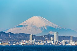 Yokosuka and Mt. Fuji seen from Uraga Channel