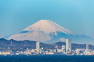 Yokosuka, Kanagawa - Yokosuka and Mt. Fuji seen from Uraga Channel