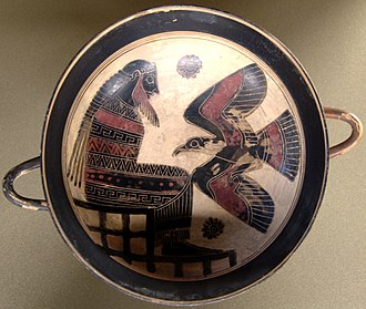 Laconian vase painting - Zeus and eagle on a cup by the Rider Painter, circa 560 BC; Paris: Louvre.