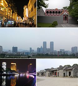 From top down, left to right: Sunwen West Road; Former residence of Dr. Sun Yat-sen; Dongqu Subdistrict; Shiqi River (); Chen ancestral shrine in Chadong Village ()