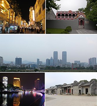 Zhongshan - From top down, left to right: Sunwen West Road; Former residence of Dr. Sun Yat-sen; Dongqu Subdistrict; Shiqi River (石岐河); Chen ancestral shrine in Chadong Village (茶东陈氏宗祠)