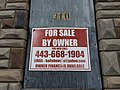 """For Sale by Owner"" sign on 310 S. Pulaski Street, Baltimore, MD 21223 (32904554315).jpg"