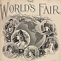 """""""The World's Fair"""" music sheet in 1892, Globe with six inserts of different nations. (Boston Public Library) (cropped).jpg"""