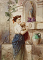 Édouard de Beaumont - Young Woman with Baby Beside Wall - Walters 371375.jpg