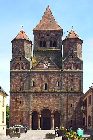 Marmoutier Abbey, Alsace - Former abbey church in the main street of Marmoutier