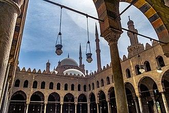 Al-Nasir Muhammad Mosque - Courtyard of the Mosque. Mosque of Muhammad Ali is seen behind.