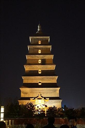 Zhou dynasty (690–705) - Giant Wild Goose Pagoda, re-built during Wu Zetian's Zhou dynasty