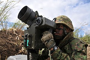 Type 01 LMAT - A JGSDF soldier aims the LMAT during a military exercise.
