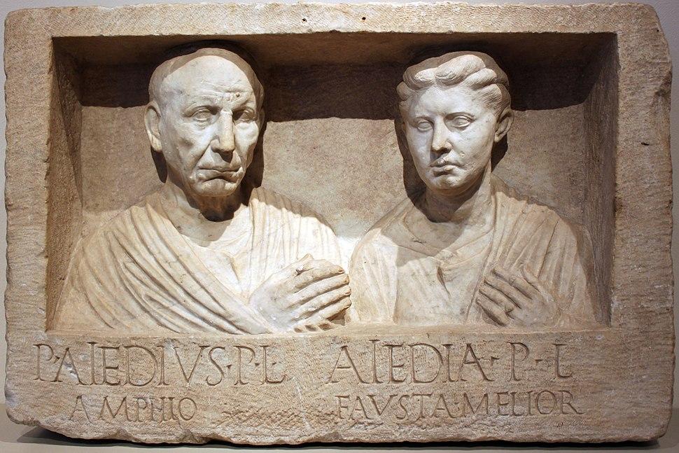-0030 Grabrelief Publius Aiedius Amphio und Frau Aiedia Altes Museum anagoria