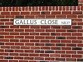 -2018-08-05 Street name sign, Gallus Close, Northrepps.JPG