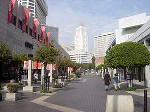 Ellison Onizuka - Weller Court shopping plaza (left) and Onizuka St., with Los Angeles City Hall in the background