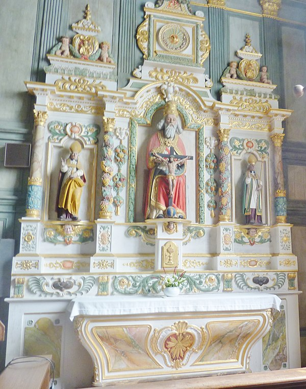 "The altarpiece of the Trinity. Note the twisted columns (""colonnes torsés"")."