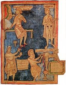 Miniatura inglese dell'XI secolo. Sulla destra un intervento di rimozione di emorroidi.