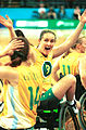 141100 - Wheelchair basketball Liesl Tesch celebrates 2 - 3b - 2000 Sydney match photo.jpg