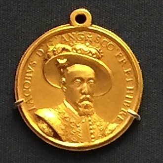 Treaty of London (1604) - Gold medal minted in England in 1604 to celebrate the peace signed with Spain.