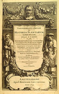 Frontispiece to a 1644 version of the expanded and illustrated edition of Historia Plantarum (ca. 1200), which was originally written around 200 BC