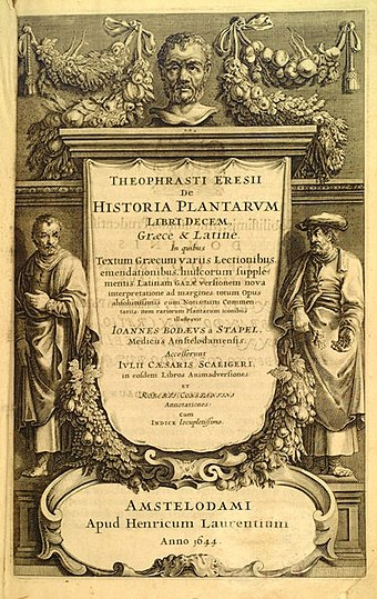 Frontispiece to a 1644 version of Theophrastus's Historia Plantarum, originally written around 300 BC 161Theophrastus 161 frontespizio.jpg