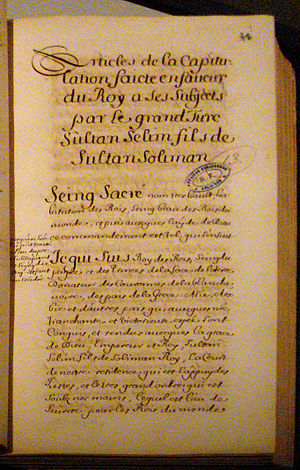 Selim II - 16th century copy of the 1569 Capitulations between Charles IX and Selim II.