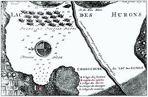 St. Ignace Mission - A 1717 map of St. Ignace showing the location of the Jesuit Mission (in red at lower middle-left) on East Moran Bay (north is to the left)