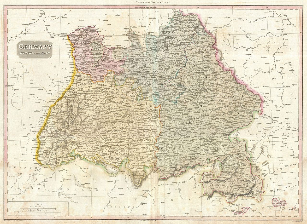 File 1818 Pinkerton Map Of Southwestern Germany Bavaria Swabia Geographicus Germanysouth Pikerton 1818 Jpg Wikimedia Commons