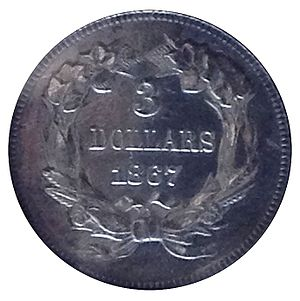 Three-dollar piece - Off-metal strike in silver of the 1867 three-dollar piece