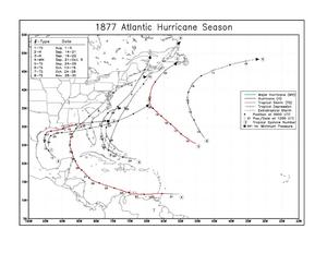 1877 Atlantic hurricane season - Image: 1877 Atlantic hurricane season map