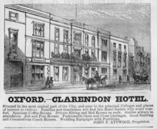 Advertisement for a hotel on newsprint