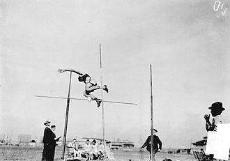 Athletics at the 1904 Summer Olympics – Men's pole vault - Ward McLanahan in action on the way to finish in fourth place.