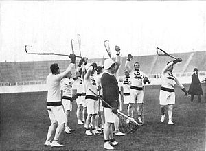 Lacrosse at the 1908 Summer Olympics - The Canadian team cheering after their win.