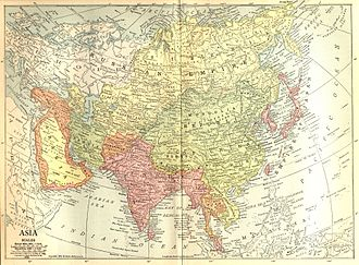 Outer Mongolia - Image: 1914 map of Asia
