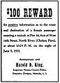 1931 advertisement for reward from Nassau County (New York) Police Department.jpg