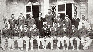 Lisle Nagel - The 1935-36 Australian team in India. Lisle Nagel is the tall man in the back row.