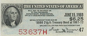 Coupon (bond) - Image: 1945 2.5% $500 Treasury Bond coupon
