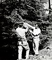 1958. Klein and VanGordon cutting prespray branch sample. Spruce budworm control project. Baker unit, Oregon. (33137855806).jpg