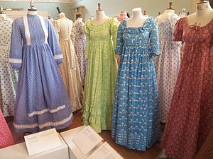 Laura Ashley plc - 1970s Laura Ashley dresses on display in the Fashion Museum, Bath, in 2013.
