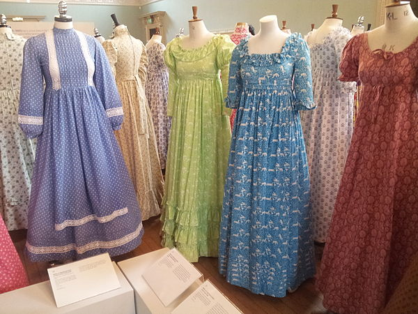 1970s Laura Ashley dresses on display in the Fashion Museum, Bath, in 2013. 1970s Laura Ashley dresses 01.jpg