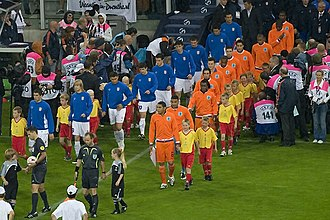 Netherlands national under-21 football team - Serbia and the Netherlands enter on to the field for the final of the 2007 tournament.
