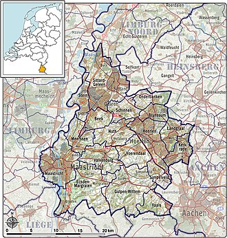 South Limburg (Netherlands) - Map of South Limburg and its municipalities.