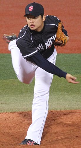 20130421 Koushi Inoue, pitcher of the Chunichi Dragons, at Yokohama Stadium.JPG