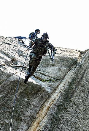 Republic of Korea Army Special Warfare Command - SWC operator during mountaineering drills