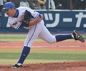 20150315 Shun Tohno pitcher of the Yokohama DeNA BayStars, at Yokohama.JPG