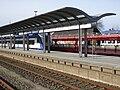 20150322 xl 3509-Sylt-Westerland-Bahnhof-Zug der Nord-Ostsee-Bahn GmbH NOB und Autozug der Deutsche Bahn AG DB.JPG