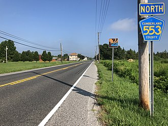 Lawrence Township, Cumberland County, New Jersey - CR 553 northbound in Lawrence Township