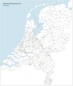 Map showing the municipal boundaries in the Netherlands in 2021